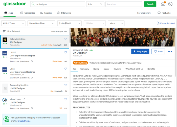 A Glassdoor webpage showing job search results for UX designers