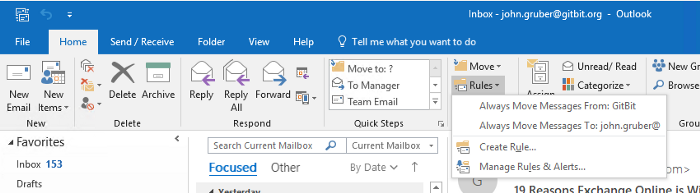 Microsoft Outlook home ribbon showing rules