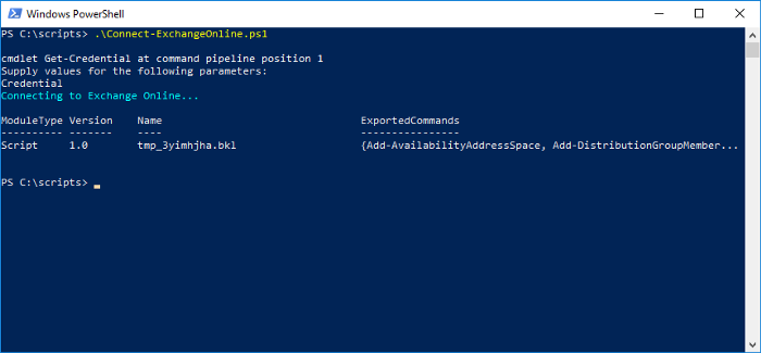 Connect to Exchange Online via PowerShell