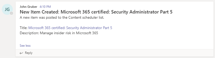 Microsoft Teams automated chat message from Microsoft Lists