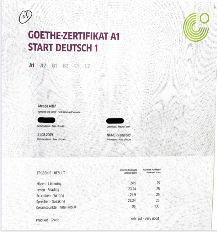Goethe institut test a1-a2