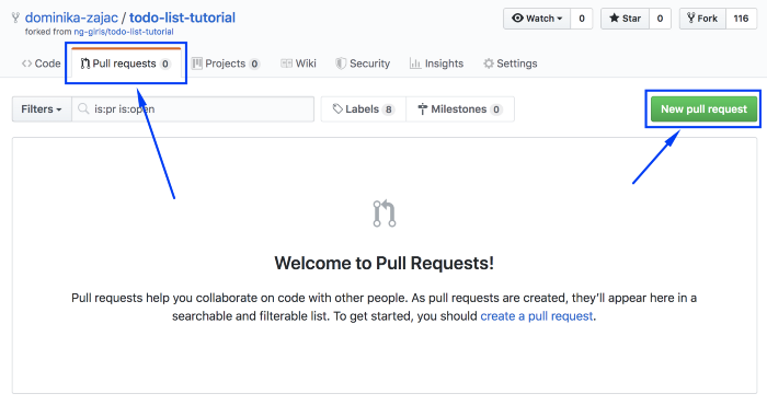 Pull request tab on GitHub