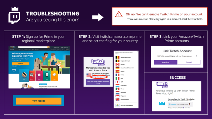 "Resolving the ""Can't Enable Twitch Prime on Your Account"" Error"