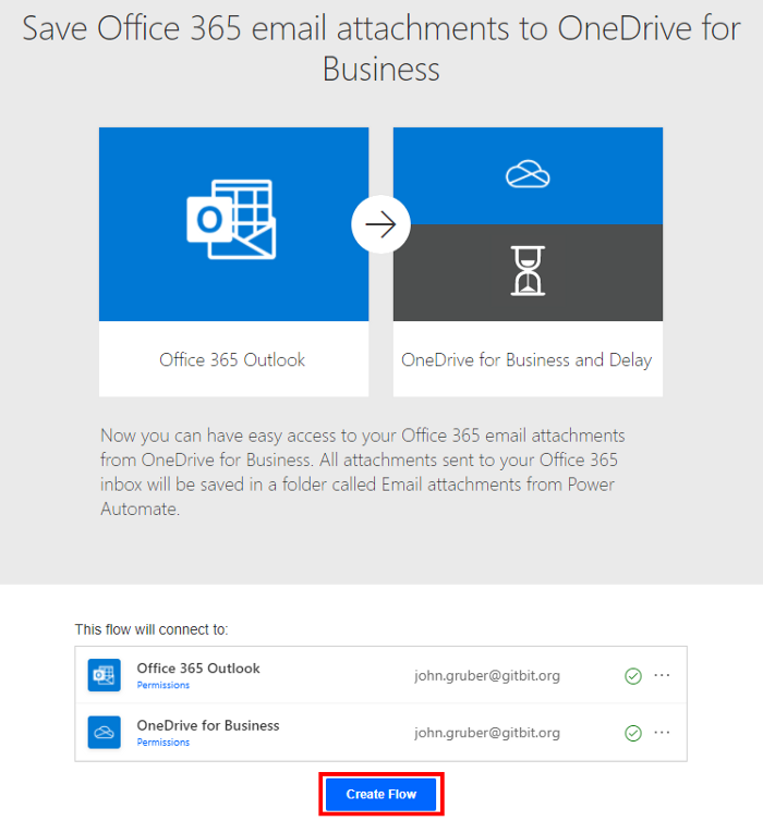 Save Office 365 email attachments to OneDrive for Business Create Flow