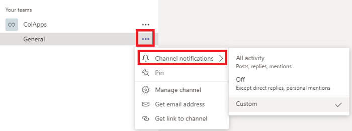 Microsoft Teams change channel notifications button