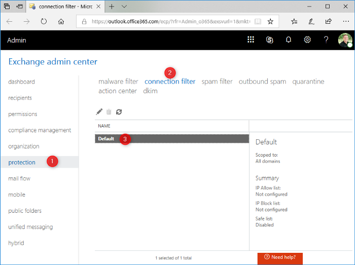 Office 365 Connection Filtering