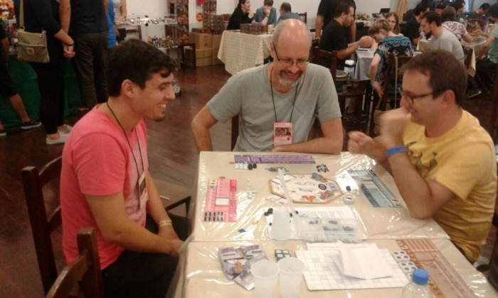 I-Ching being played by fellow game designers at a playtest event.