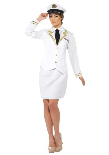 Woman in naval officer uniform with skirt