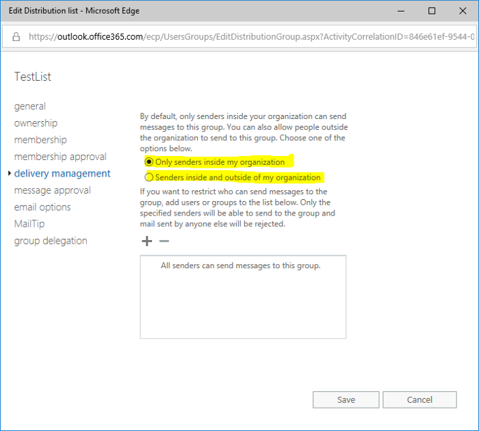 How to edit the External Sender Permissions for groups synced from AD without Exchange on-premise