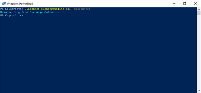 disconnecting from Exchange Online PowerShell
