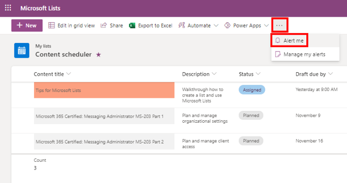 Enable alerts in Microsoft Lists