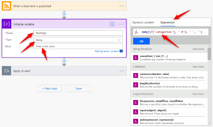 Microsoft Flow initialize variable expression