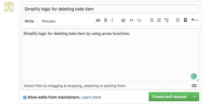 Example of the fulfilled pull request form