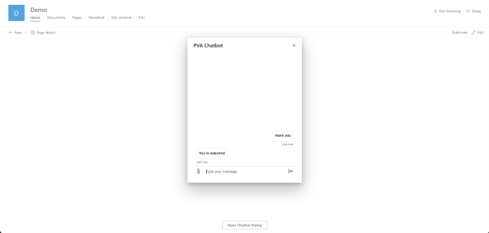 Screenshot of PVA Chatbot in Demo SharePoint site