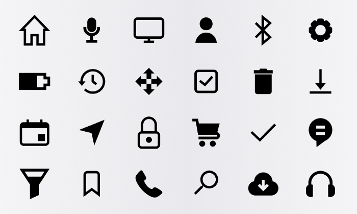 How to use icons in UX design: make sure your UI icons are consistently designed with similar stroke weights, fills, resolutions, and curvatures. The UX icons should be legible at smaller sizes, and designed with matching styles.