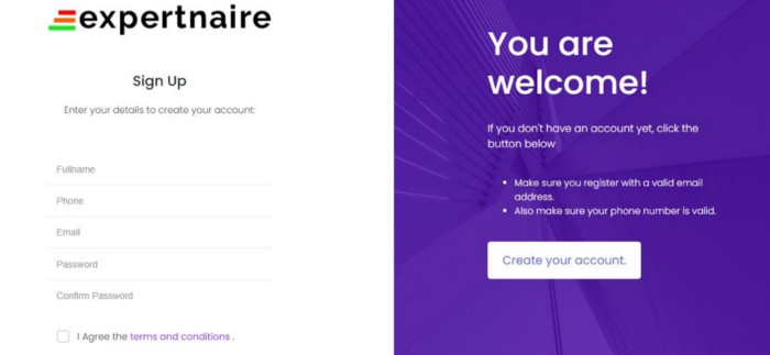 How to sign up for Expertnaire