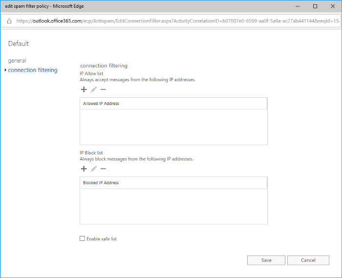 Screenshot of EAC Connection FIltering Customizations
