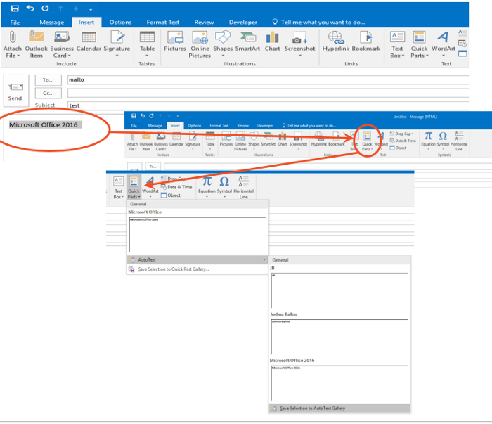 Microsoft Outlook quick parts