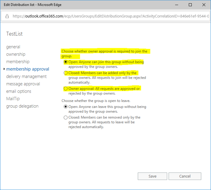 How to edit the Group Membership Permissions for groups synced from AD without Exchange on-premise
