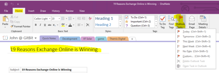 Microsoft OneNote with Outlook Tasks