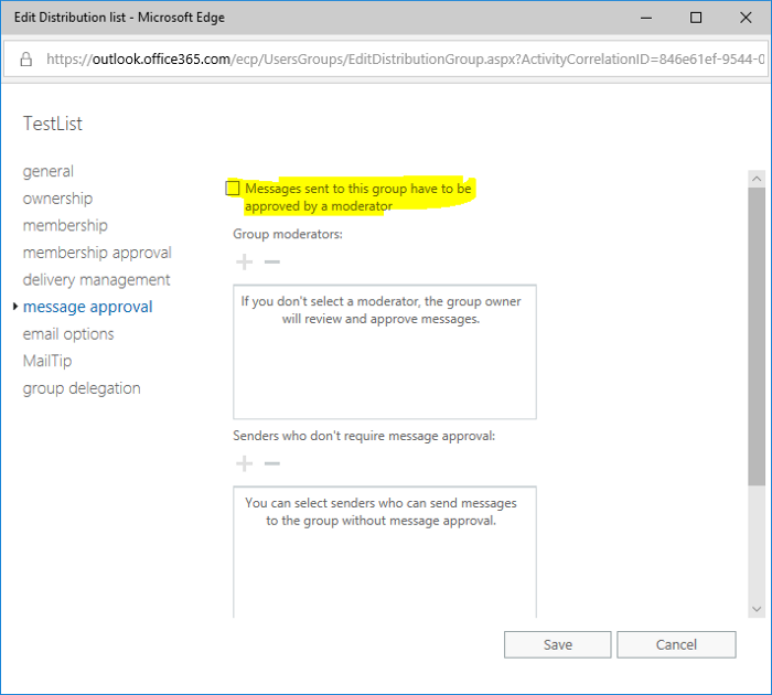 How to edit the Moderator Approval for groups synced from AD without Exchange on-premise