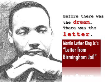 """Pencil drawing of Martin Luther King Jr with the words """"Before there was the dream, there was the letter."""""""