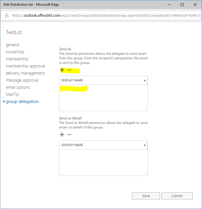 How to edit the Send As Permissions for groups synced from AD without Exchange on-premise