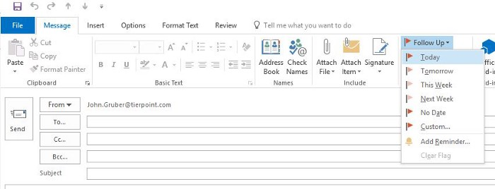Microsoft Outlook follow-up flags