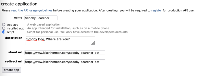 """The """"Create Application"""" form should have your app name, description, type, and urls"""