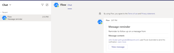 Microsoft Teams follow up on a message reminder