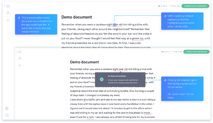 Here Grammarly uses a demo document to help you get started.
