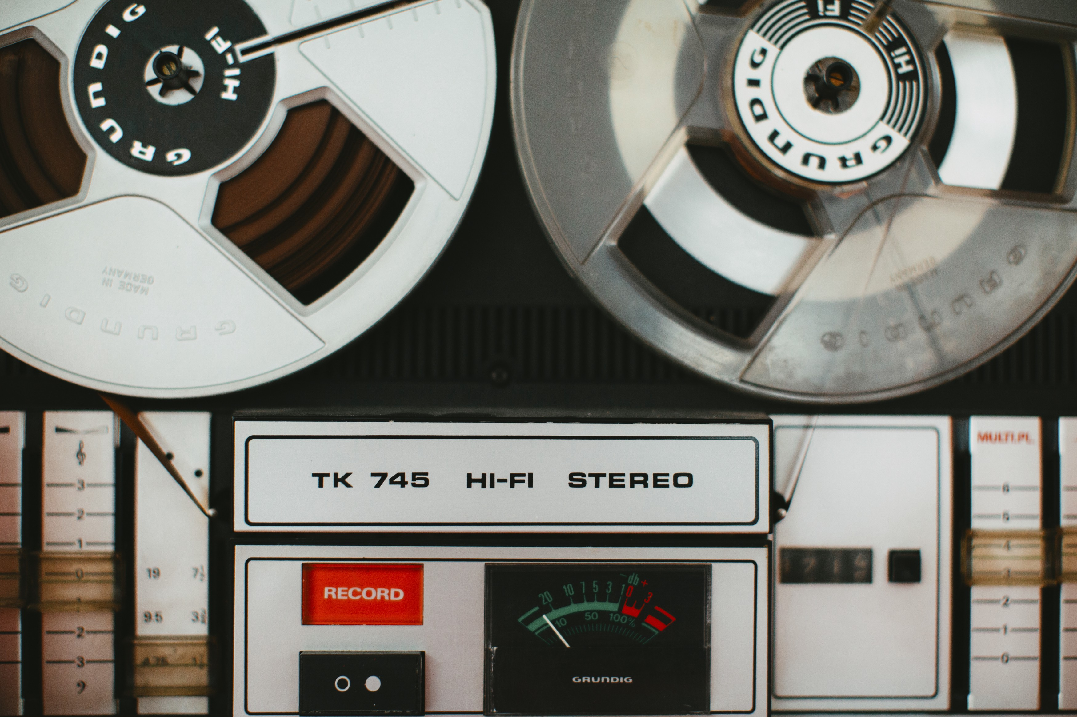 An old-school tape recorder shown top-down