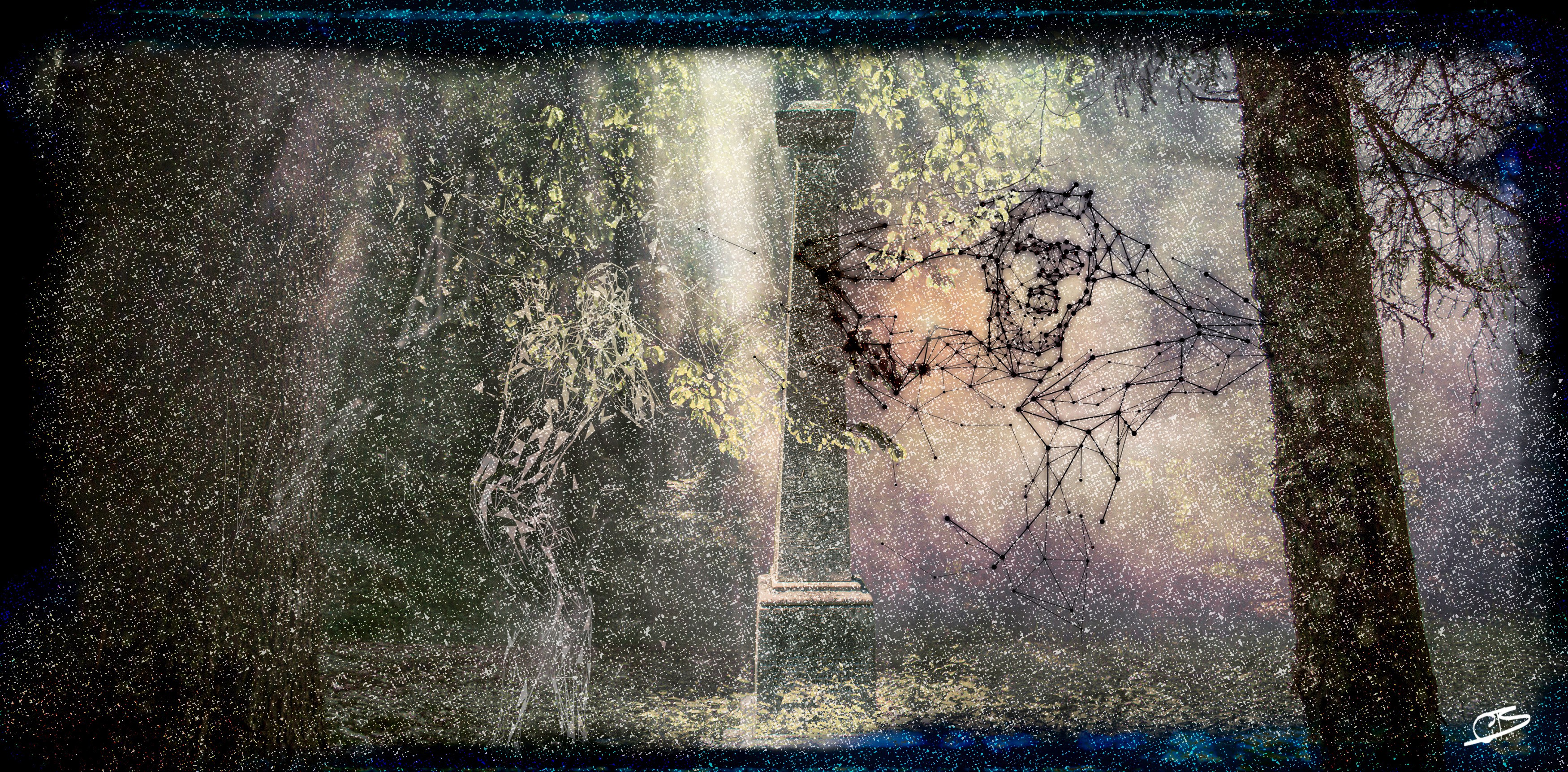 Two digital ghosts screaming near a grave stone.