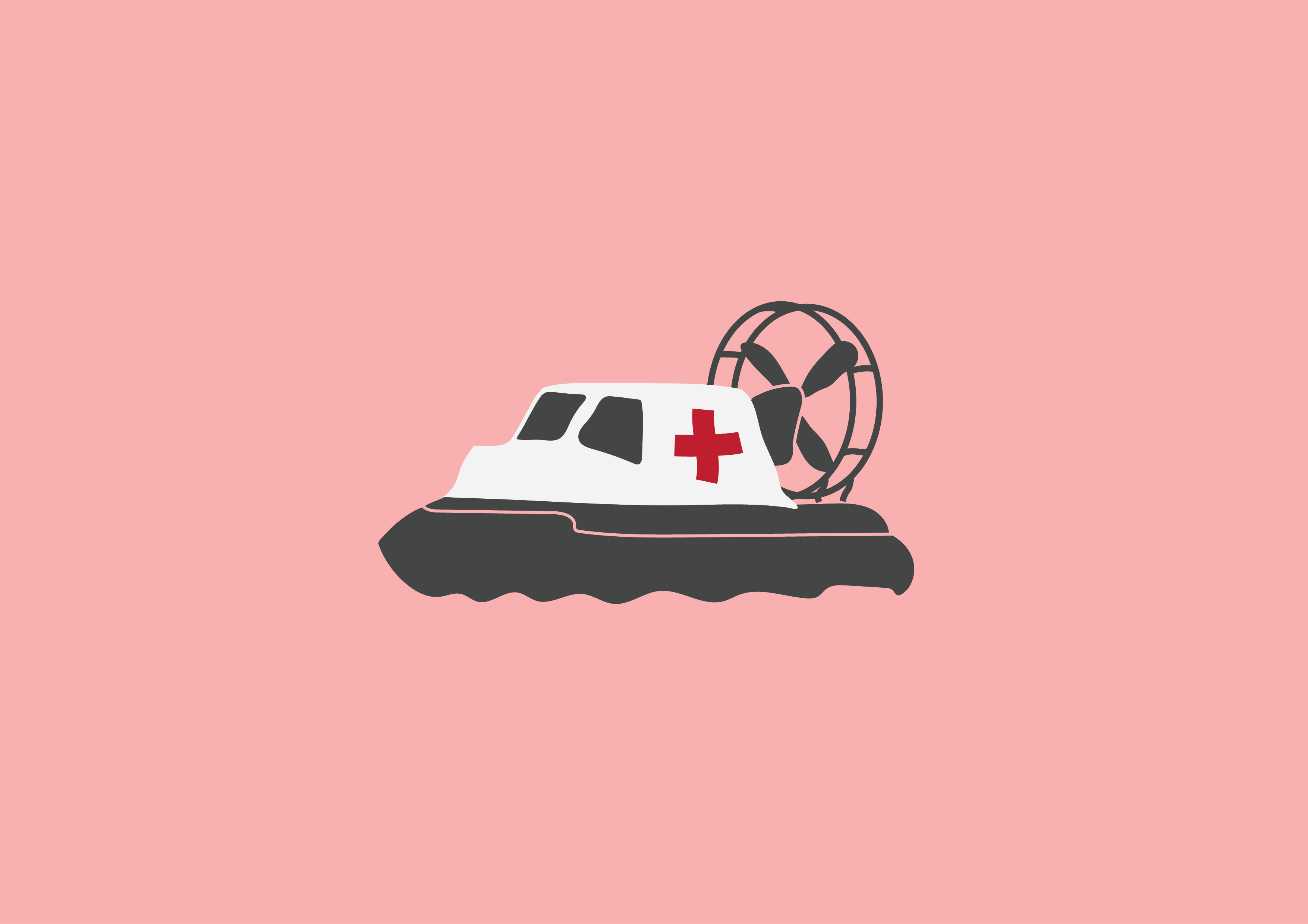Drawing of a hovercraft with a red cross on it