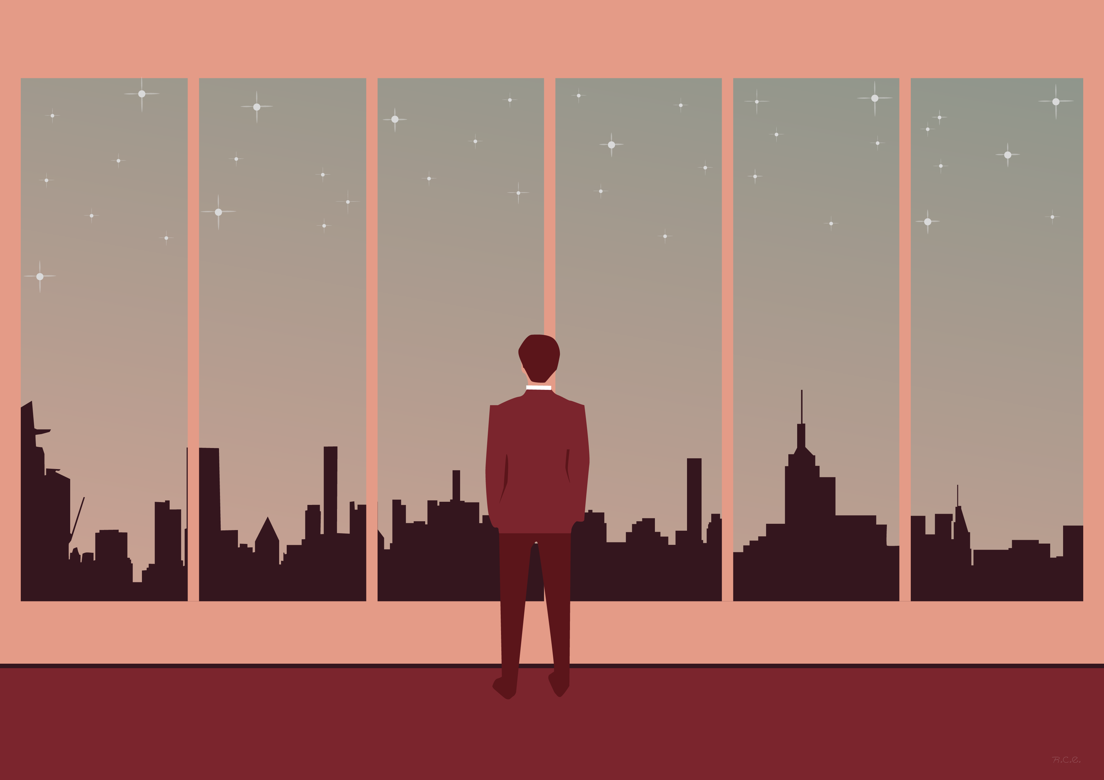 A man looking the city by the window