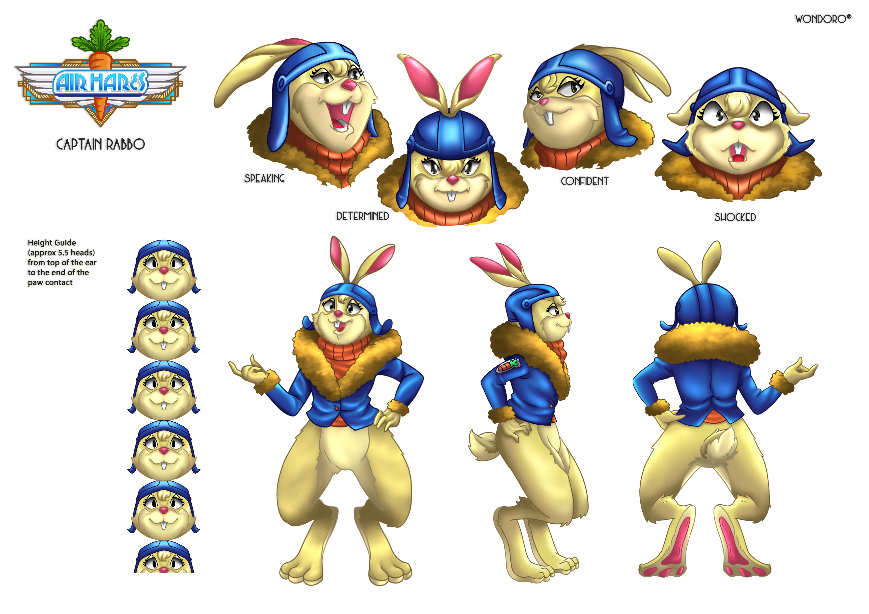 The character sheet for Captain Rabbo, which depicts several poses and expressions as well as her full-body outfit.