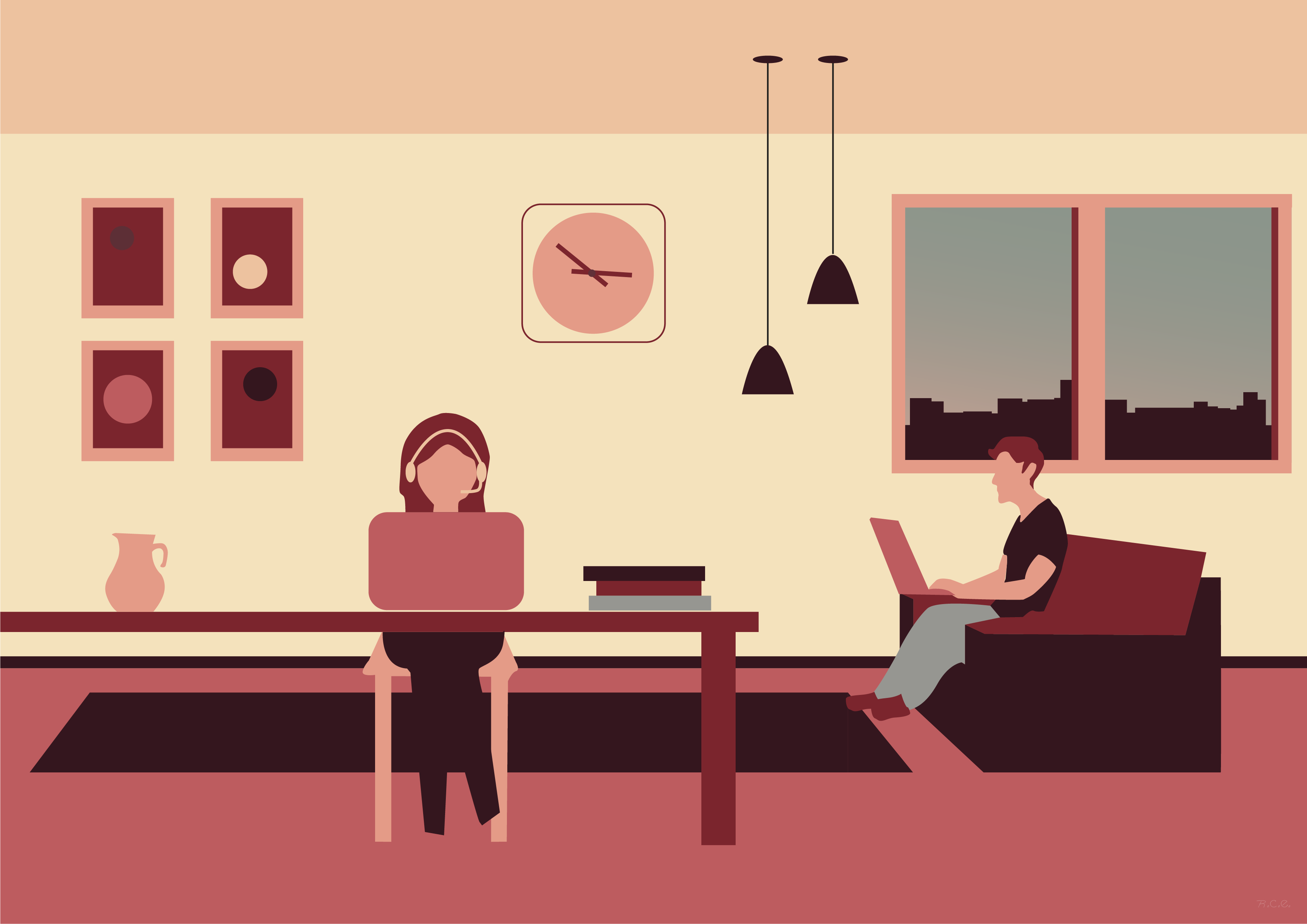 Two people coworking at home
