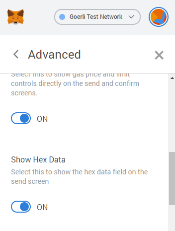 MetaMask advanced configuration screen for Show Hex Data.