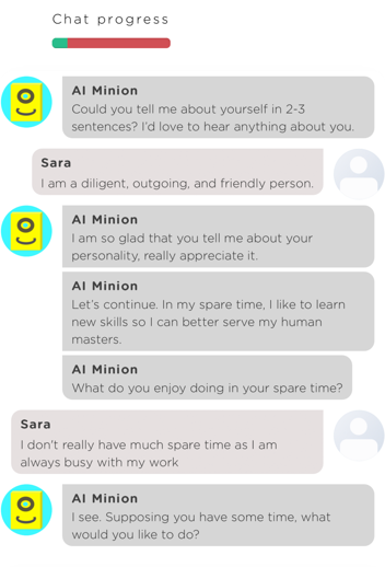 A sample chat between a user and an interview chatbot