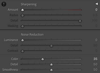 Screenshot of the details tab in Lightroom with appropriate settings for the soft version.
