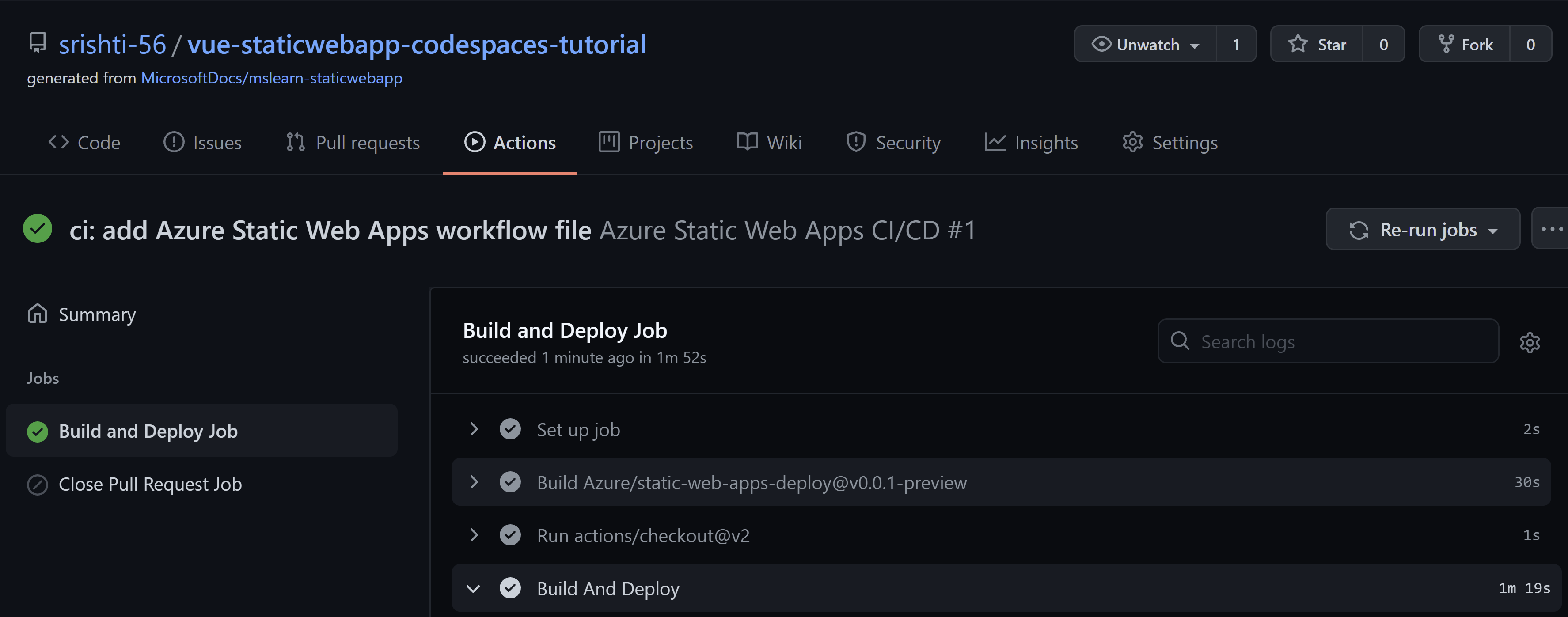 Screenshot of Github Actions tab with the successful workflow run for Static Web App deployment.