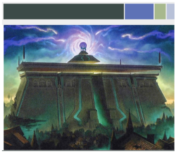 An image of the card artwork for Bolas's Citadel with a histogram showing the 4 primary colors and their weighted value