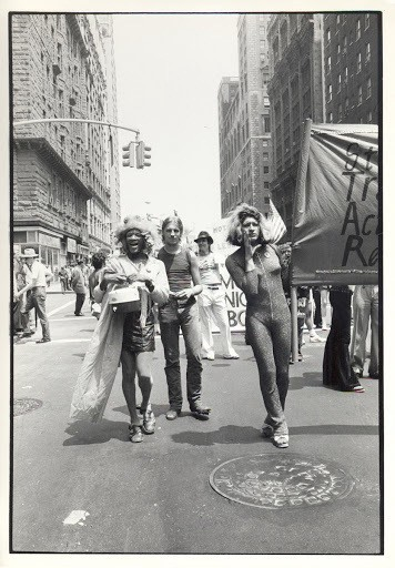 Sylvia Rivera and Marsha P. Johnson marching together at a protest in New York City. Sylvia is shouting and holding one half of a banner, the other side obscured. She wears a glittery tracksuit. Marsha is marching beside her, wearing a cape and her signature floral crown. Behind them, more protesters march.