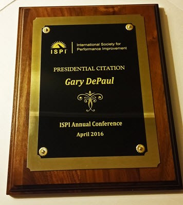 Image of a plaque given to me by the president of ISPI — Presidential Citation Award, April 2016