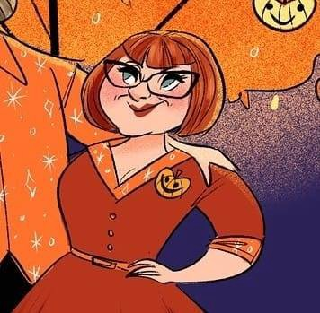 Cartoon drawing of Melissa, a white woman with a red bob & black-framed glasses, wearing a fall-themed shirtwaist dress.