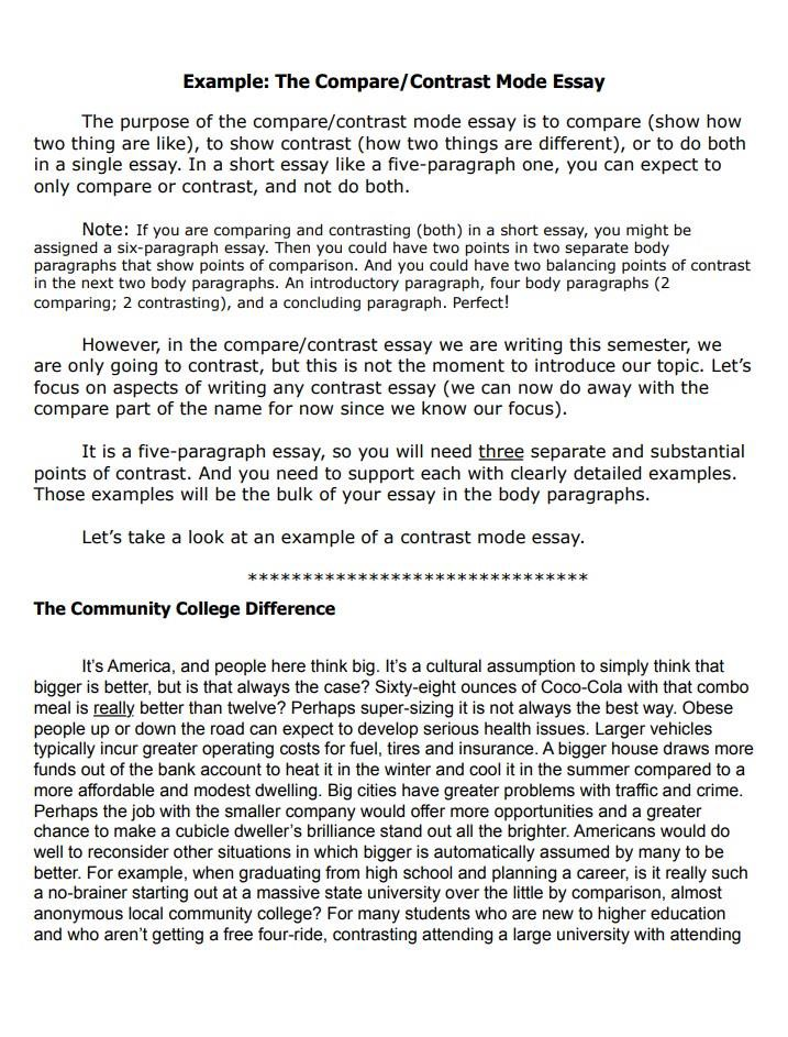 how to write a compare and contrast essay for college