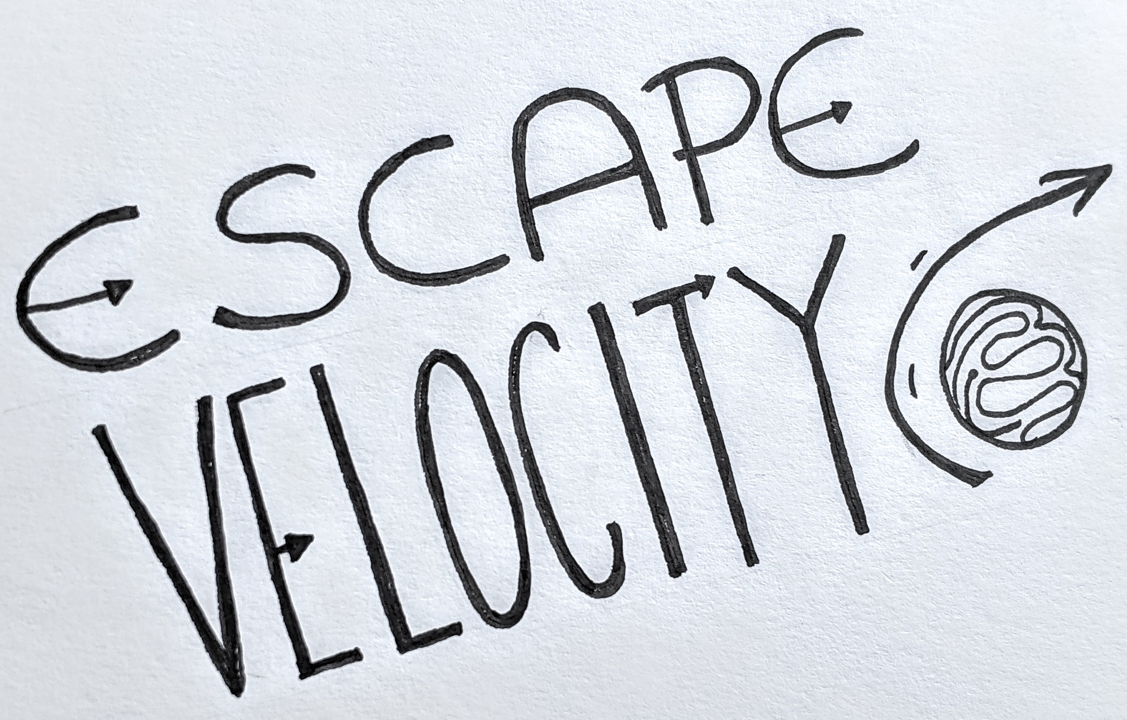 """A simple graphic of the title of the talk """"Escape Velocity"""""""