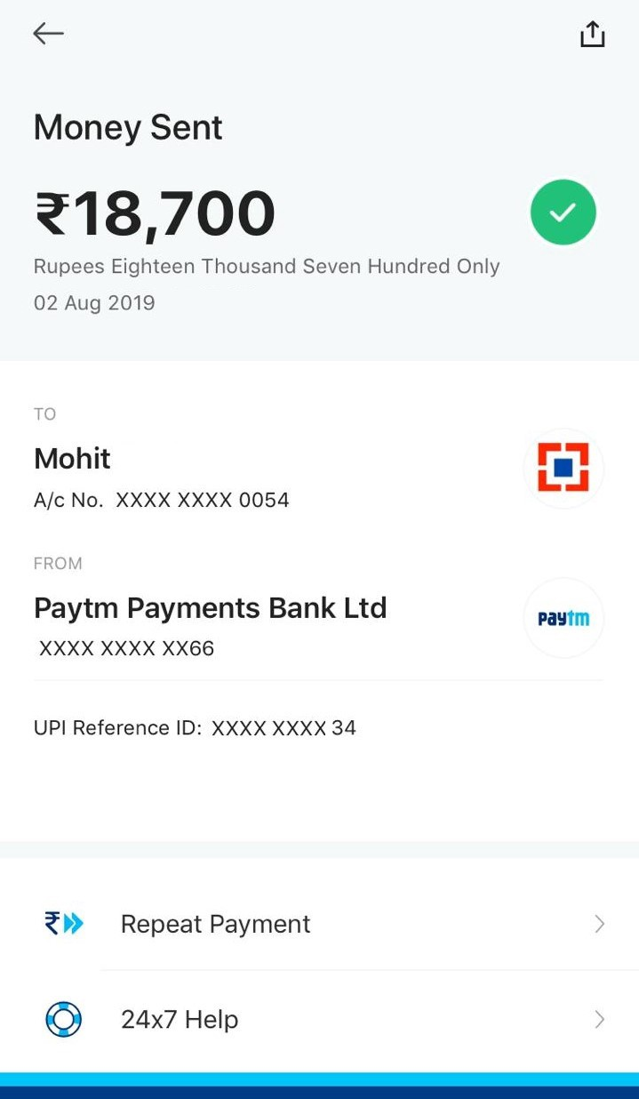 Money transferred through Paytm UPI but the receiver did not