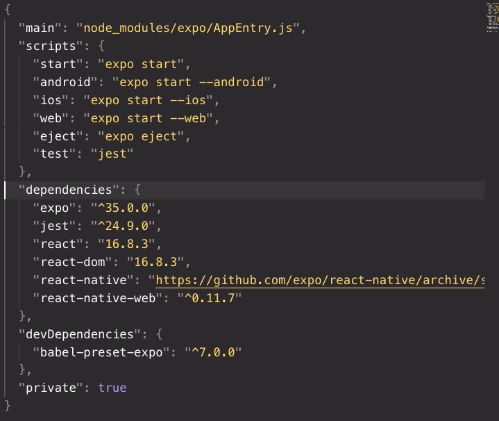 What is inside package json in a new React Native project?