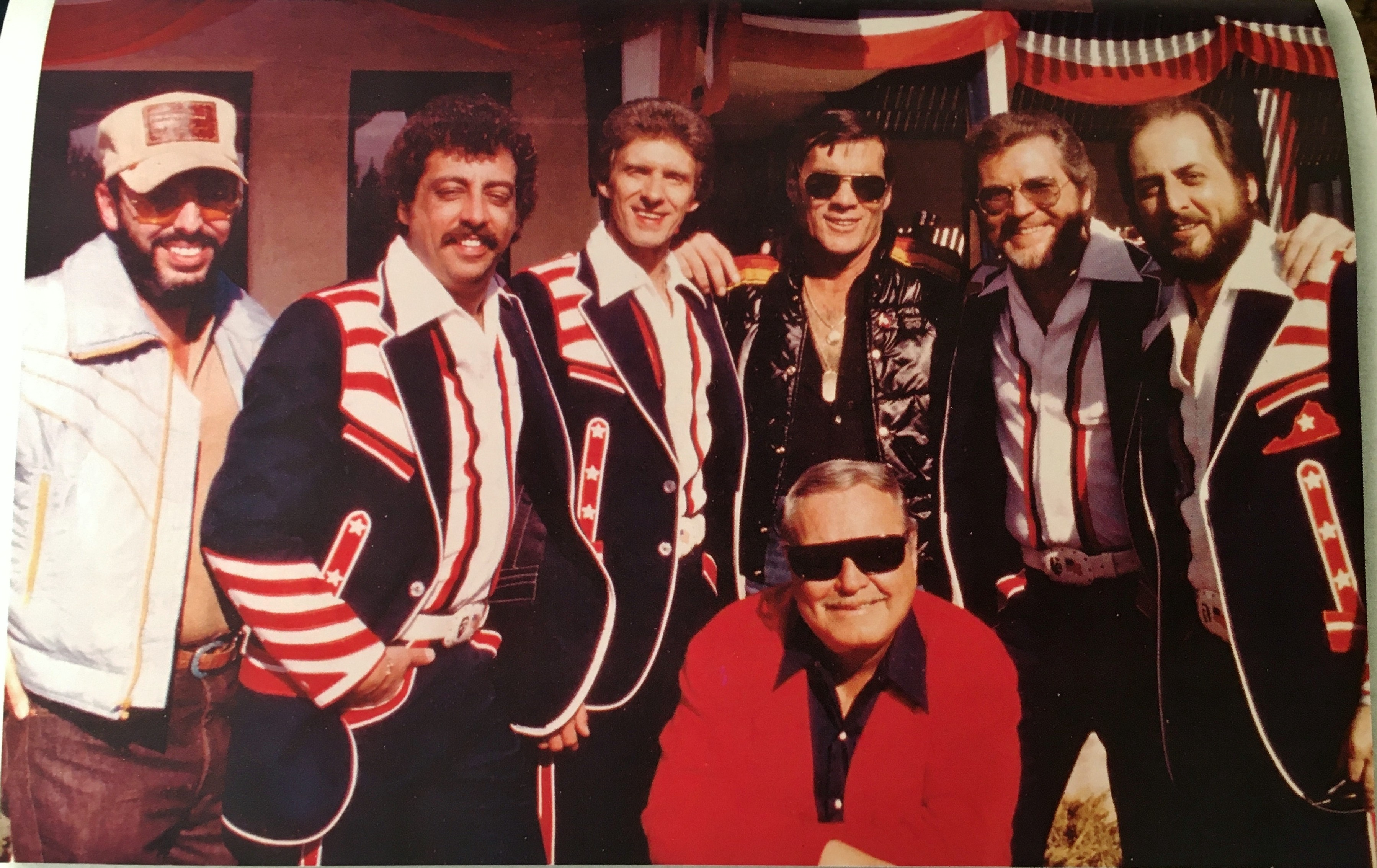 """Statler Brothers spend a day with Jackie Gleason, Snuff Garrett and director Hal Needham on """"Smokey and the Bandit II,"""" 1980"""